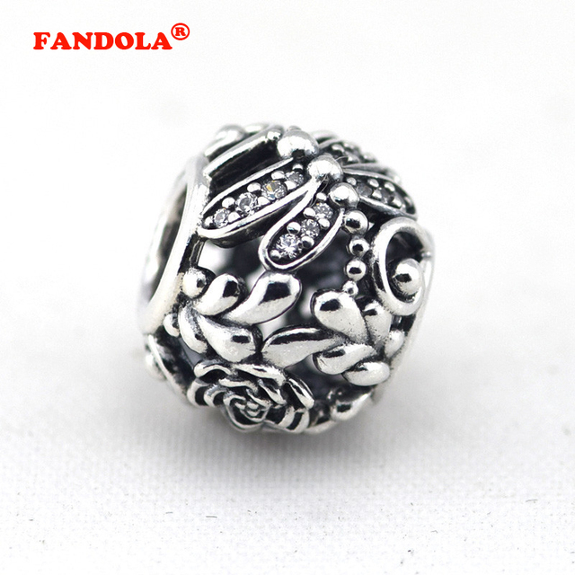 d7b55e8ab Fits for Pandora Bracelets Dragonfly Meadow Charms with Clear CZ 100% 925 Sterling  Silver Jewelry Beads Free Shipping