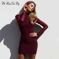DeRuiLaDy Women Autumn Winter Long Sleeve Dress Net Yarn Sexy Mini Bodycon Dresses Casual Party Club