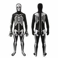Mens Teens Bone Chillin Skeleton Suit Fancy Dress Halloween Party Costume