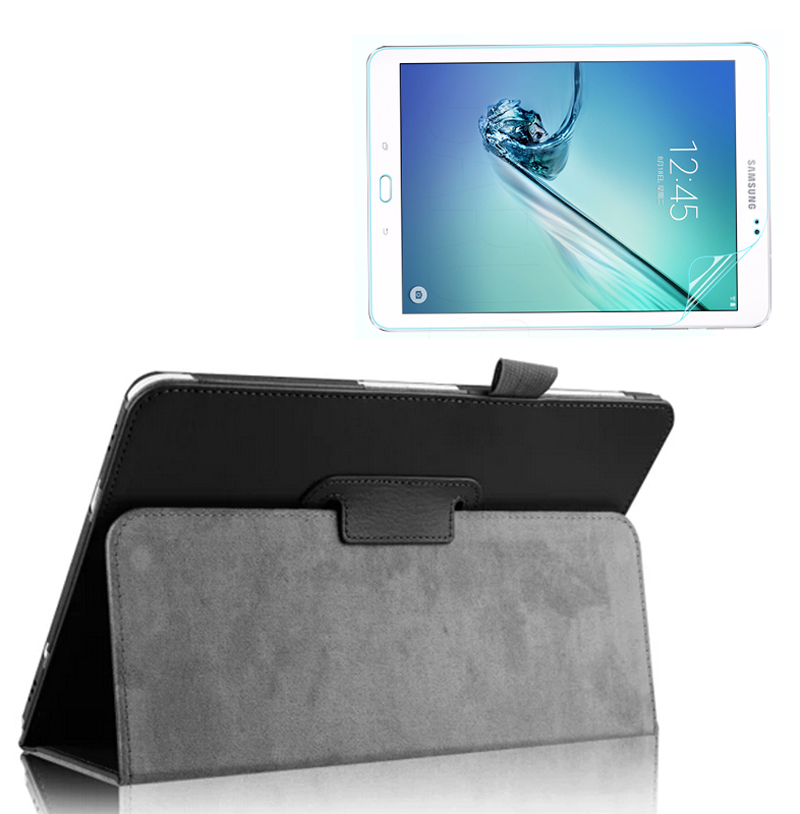 Luxury Folio Stand Holder Leather Protective Case Cover +1x Clear Screen Protector For Samsung Galaxy Tab S 2 S2 9.7 T810 T815