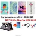 360 Вращающихся Красочные Окрашенные newFire HD 8 Leather Case Откидная Крышка Для Amazon newFire HD 8 2016 Tablet PC крышкой + пленка + стилус + OTG