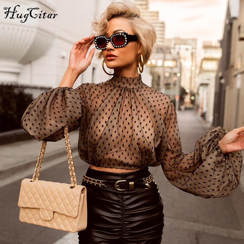 Hugcitar Dots Mesh See-through Lantern Long Sleeve Sexy Crop Tops High Neck 2019 Women Fashion Streetwear Casual Party T-shirts