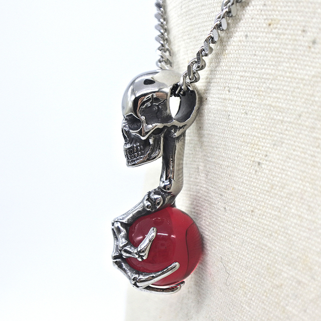 STAINLESS STEEL CLAW SKULL RED EYE NECKLACE (3 VARIAN)