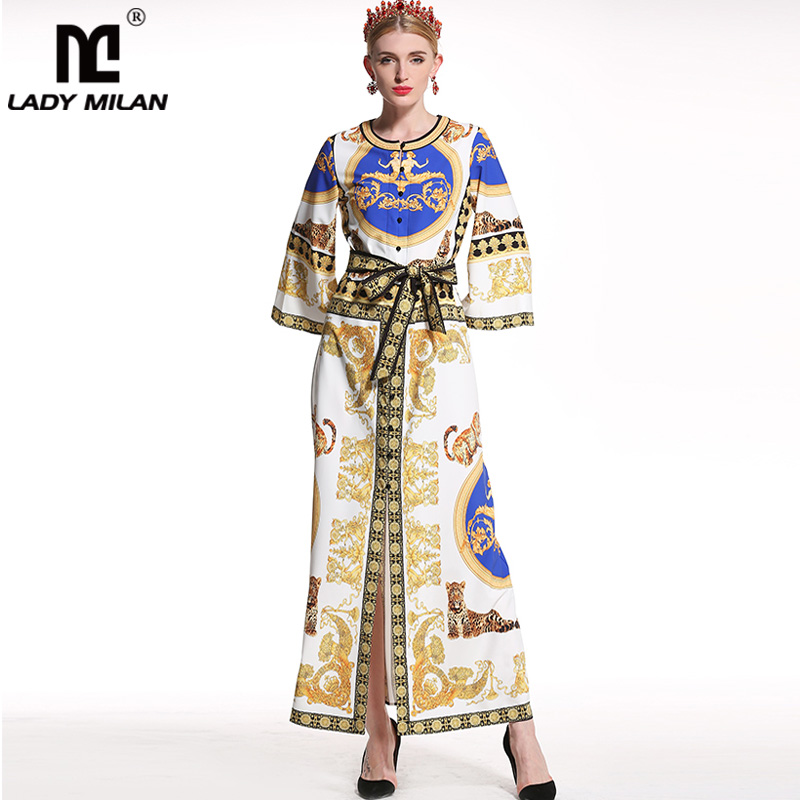 Lady Milan 2018 Womens O Neck Long Sleeves Loose Design Tigers Printed Sash Belt High Street Fashion Maxi Dresses