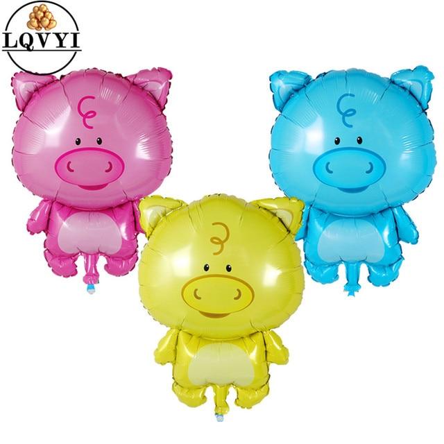 1 pc Porco Foil Balões do Aniversário Decorações Do Partido Crianças Brinquedos de Banho Do Bebê Meninas Suprimentos piggy Animal Balão Inflável Globos de Ar