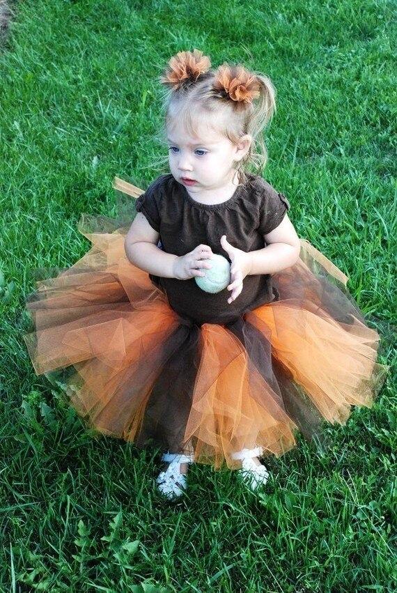 Negro y orange tulle embroma la falda del tutú de la muchacha de los niños  del bebé traje corto paño bola boda del partido pettiskirt 3ce68eeb1cf