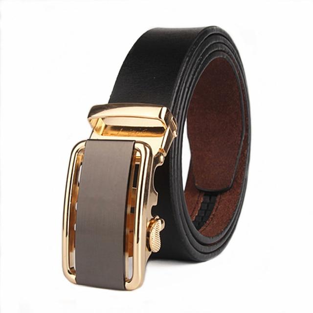 Men Belt Bilateral Hollow Buckle Automatic Cow Genuine Leather Belt Luxury Mens High Quality The Men Designer Belts 100cm-130cm