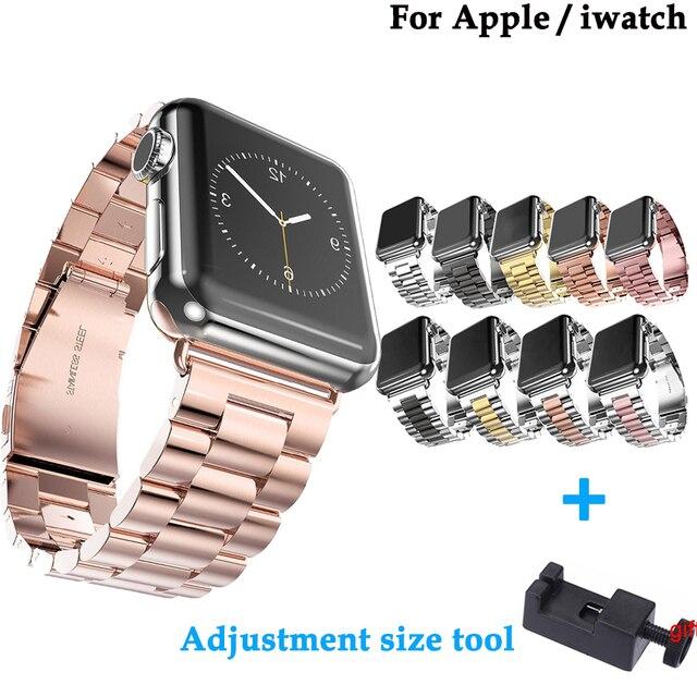 Edelstahl mode strap für apple 42mm/38mm/44mm/40mm Für iwatch serie 4 /3/2/1 smart watch armband + Einstellung größe werkzeug