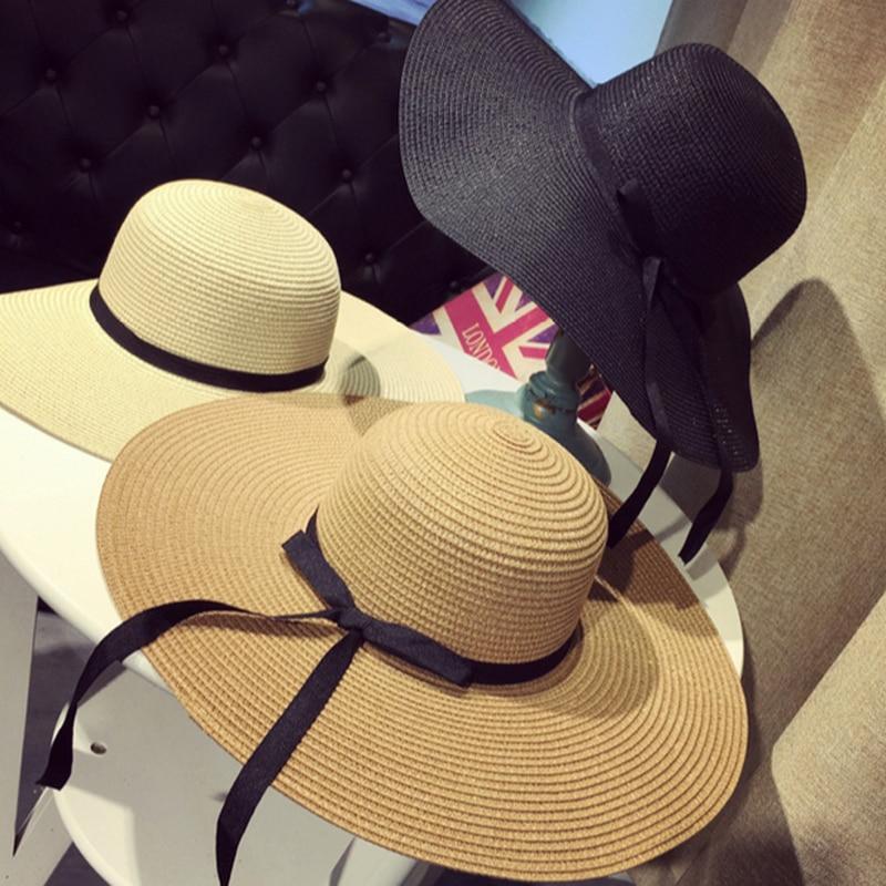 Summer Floppy Straw Hat Women Big Wide Brim Ribbon Sun Hats Ladies Foldable Panama Beach Hat