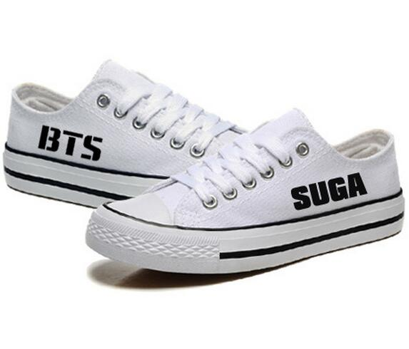 Unisex Womens BTS White Canvas Shoes KPOP Flat Heel Lace Up Shoes All Members Letters Printed