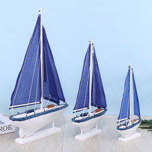 Mediterranean style sailboat model SML size classic blue sailing boat Handmade solid wood to create ornaments