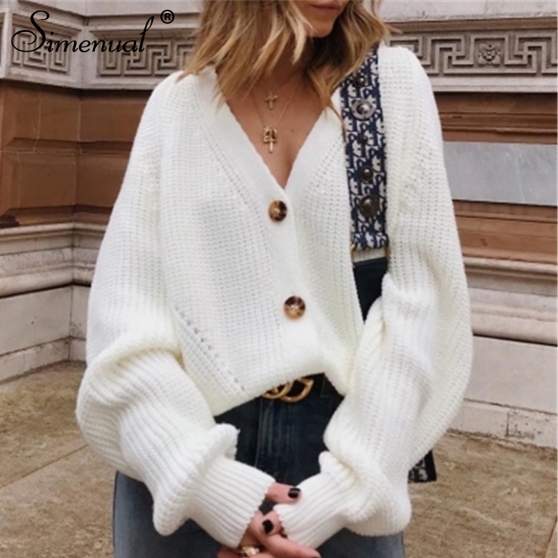 Simenual Casual Fashion Knitted Cardigans Sweater Women Solid Basic Autumn Winter Jumpers 19 Long Sleeve Button V Neck Sweater 13