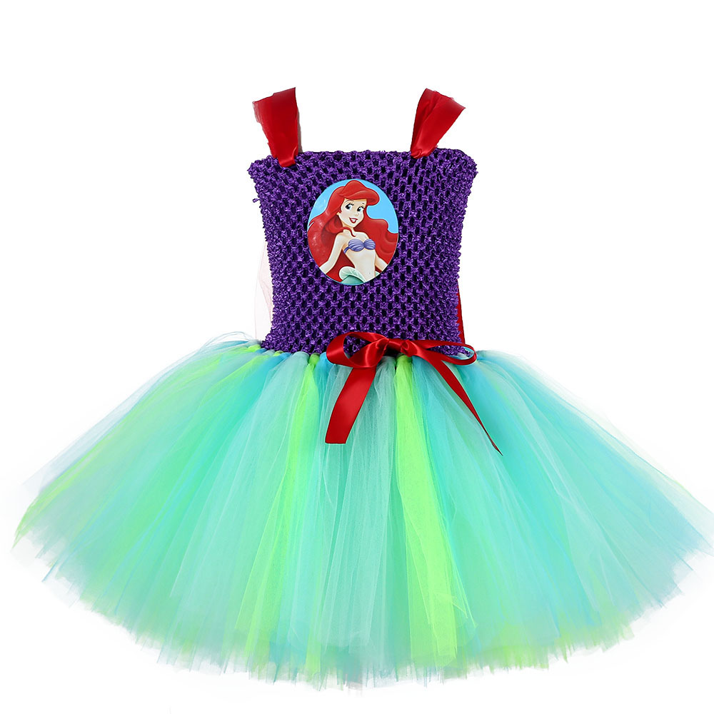 Infant Toddler Baby Girls Tulle Princess Ariel Tutu Dress Cute Princess Costume Kids Pageant Birthday Photograph Party Dresses
