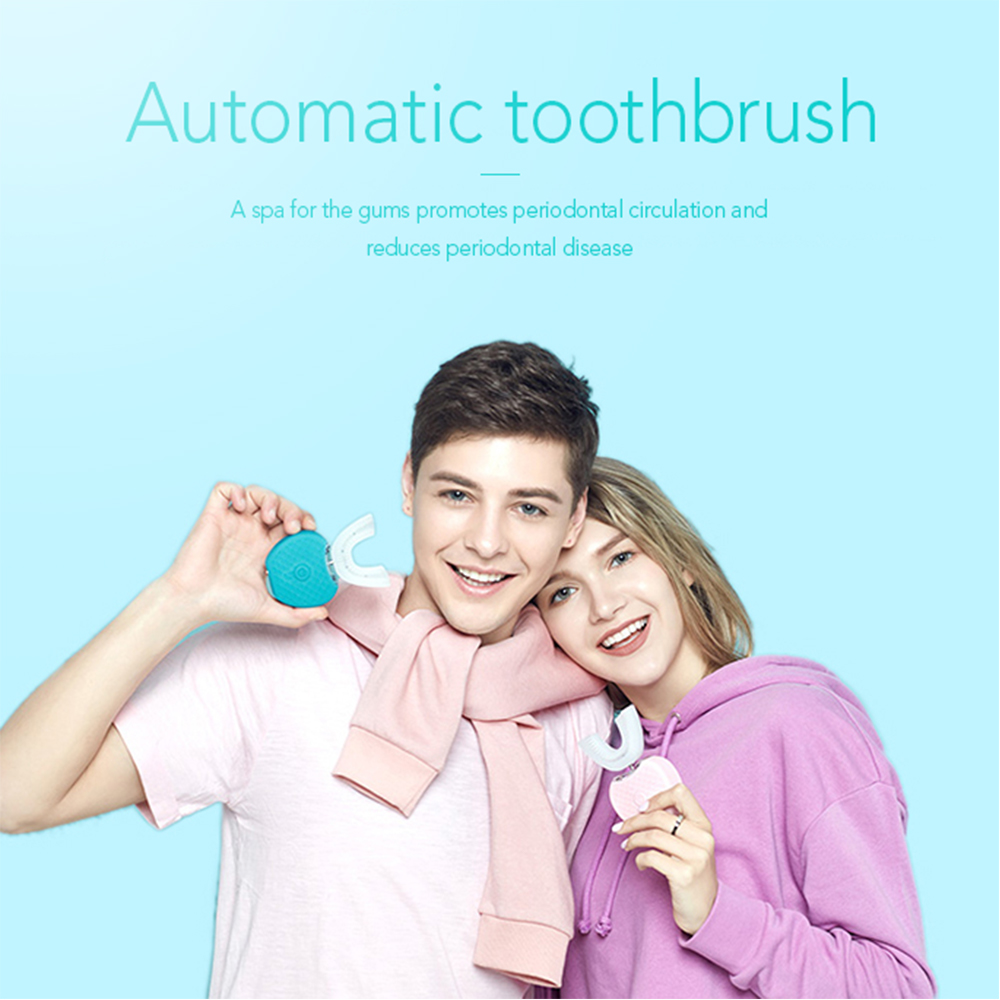 Intelligent Automatic Sonic Electric Toothbrush 360 Degrees Silicone U Type Head USB Rechargeable Adults 4 Mode Timer Blue Light