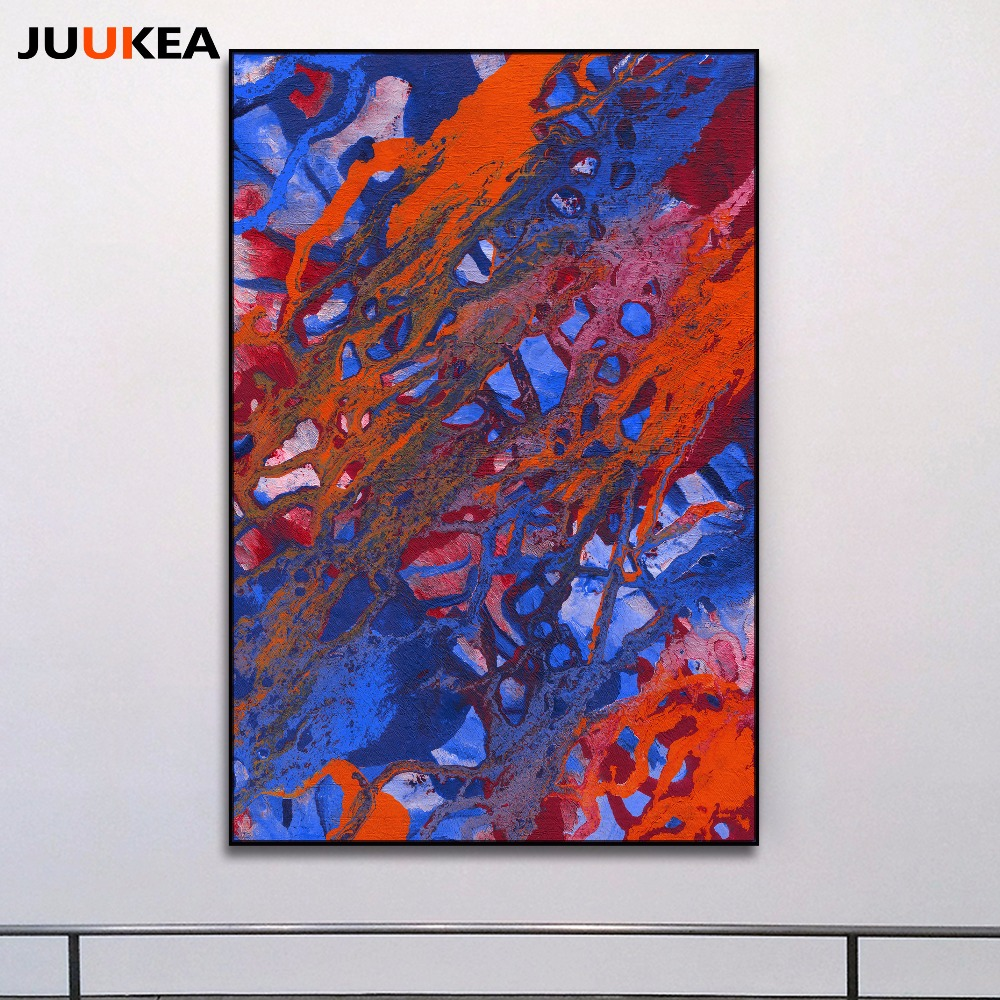 Abstract Art Prints On Canvas Us 6 13 20 Off European Style Classics Blue And Red Abstract Art Painting Prints On Canvas Wall Picture For Living Room Home Decor No Frame In