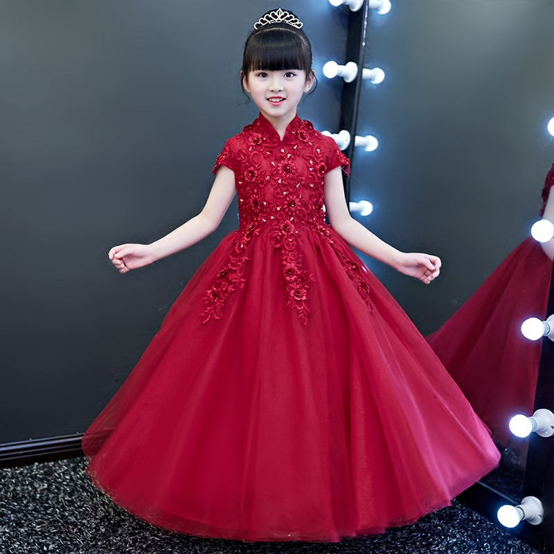 2018 Spring New Children Girls First Communion Dresses Luxury Ball Gown Wine-red Organza Flowers Birthday Wedding Long Dresses