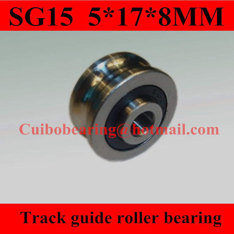 100pcs/lot SG15 U Groove Sealed ball bearings 5*17*8 mm Track guide roller bearing 5X17X8 (Single row balls)