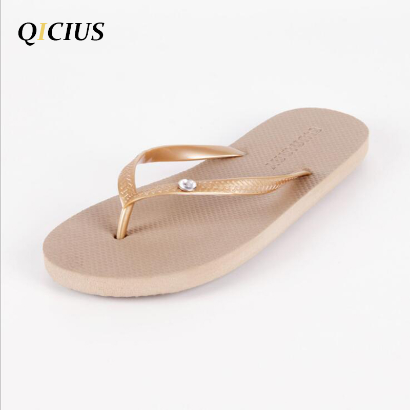 QICIUS Rhinestone Decoration EVA Women Casual Beach Flip Flops Sandals Flat With Slippers Sandals 2018 Summer Shoes Woman B0032 candy colors women slippers clogs mules eva 2017 summer flip flops beach garden shoes fashion sandals outdoor chinelo feminino