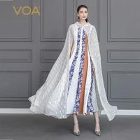 VOA Silk Womens Capes Cloak White Bling Poncho Femme Abrigo Bat Cardigan Long Shawl Ponczo Damskie Argyle Mesh Frozen Fall B633