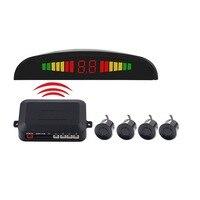 Carro sem fio estacionamento radar carro auto parktronic led monitor de estacionamento com 4 sensores de estacionamento reverso backup sistema detector superior Sensores de estacionamento     -