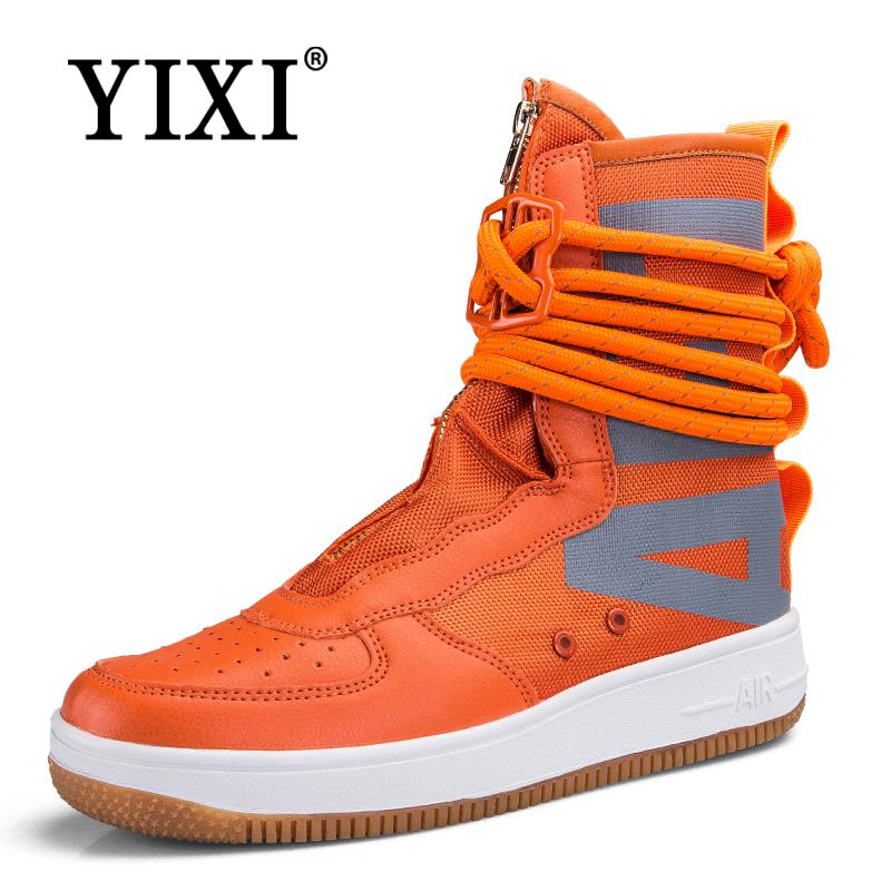 YIXI New Men's Shoes high top sneakers for men Black Breathable mens shoes Non-slip male Boots casual shoes Unisex Footwear35-44