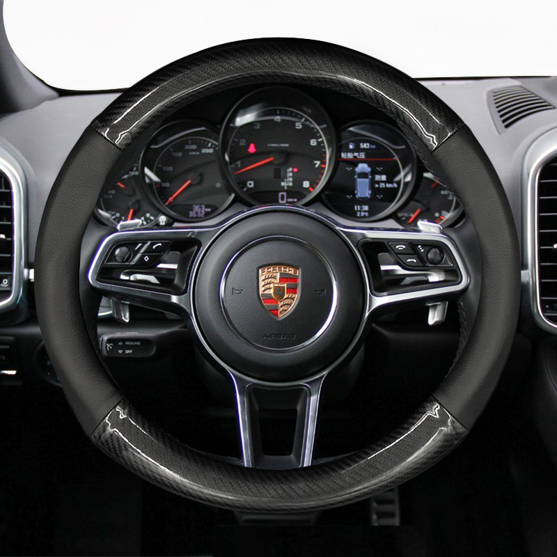 Genuine Leather Carbon Fiber Style Car Steering Wheel Cover For Porsche 911 Cayenne Macan
