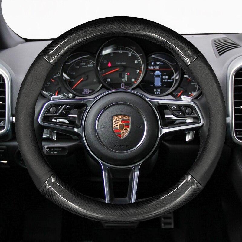 Housse de volant de voiture en cuir véritable style fibre de carbone pour porsche 911 cayenne macan panamera accessoires d'intérieur