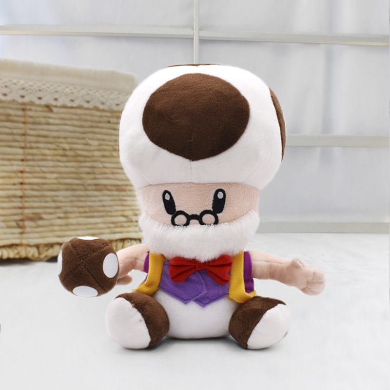 25 cm Super Mario Bros Brinquedos de Peluche Toad Mushroom Velho Macio Stuffed Plush Doll Presente Das Crianças Frete Grátis
