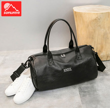 Gym Bag Women PU Leather Large Capacity Handbag With Shoes Compartment Sports Travel Black Bags Fashion Leisure Shoulder Bag Men