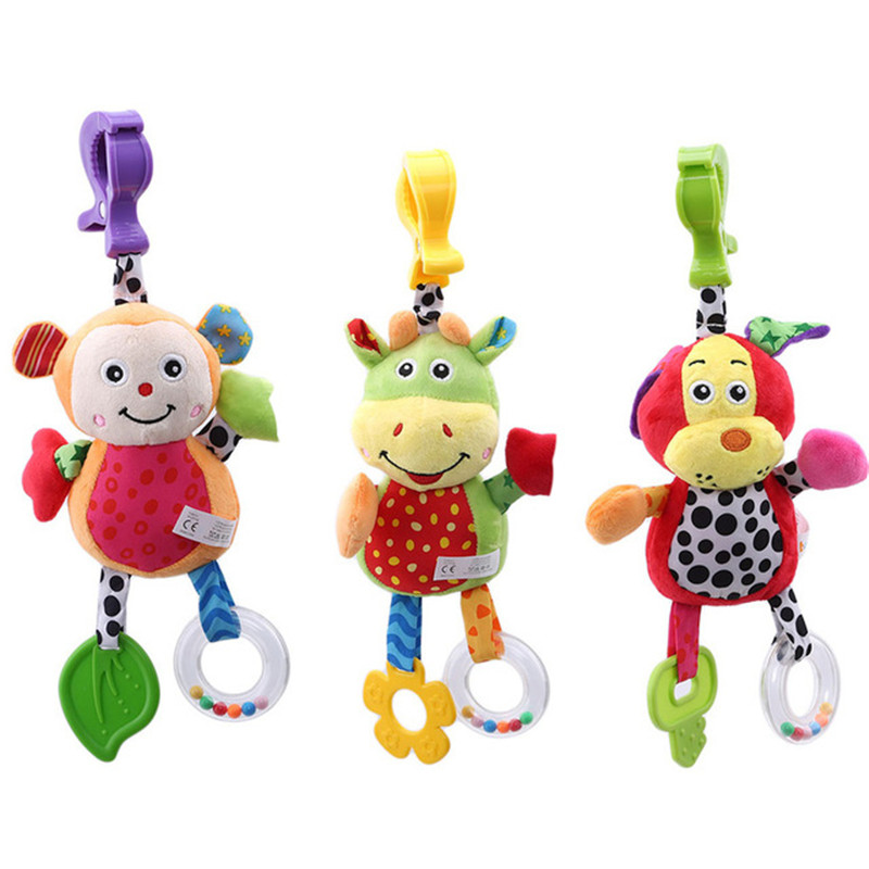 Cute Dog Cow Monkey Baby Plush Stuffed Animal Rattle Baby Bed Mobile Toy Baby Bed Hanging Toys For Children Kids