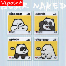 VIPOINT self-adhesion embroidery panda bear patch animal cartoon patches badges applique for clothing LX-23