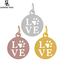 10pcs/lot full polish metal love charm word hollow pet paw dog paw charms bear footprint shape for diy animal necklace making