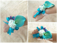 Blue PU calla lily wedding flowers groom corsage / boutonniere bride wrist flower wedding bridal hand flower free shipping