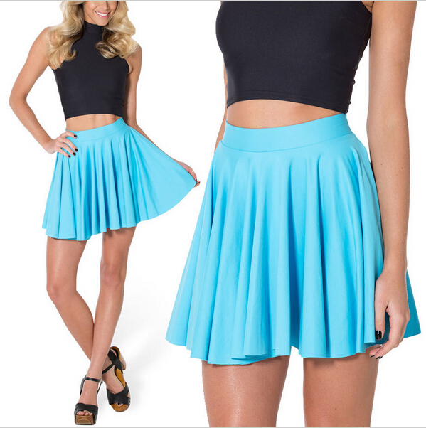 Skirts Women 2015 Matte Light Blue Cheerleader Sexy Short Skirt Mini Women High Waist Skirt Saia Plus Size girl