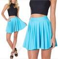 Skirts Women 2015 Matte Light Blue Cheerleader Sexy Short Skirt Mini Women High Waist Skirt Saia Plus Size