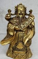 """JP S61 21 """"Chiński Mosiądz Stojak Mamona Pieniądze Bogactwo Bóg Ru Yi skarb miska Monety Statua w Posągi i rzeźby od Dom i ogród na"""