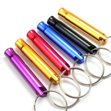 RE 100 PCS/lot Mini aluminum alloy whistle keyring keychain for outdoor emergency survival safety sport camping hunting W15