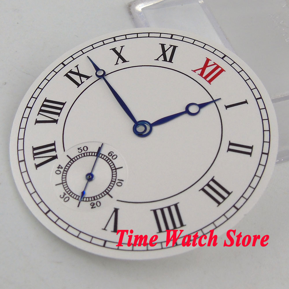 Parnis 38.9mm white sterial dial Roman numerals Watch dial fit ETA 6498 hand winding movement +blue hands D104Parnis 38.9mm white sterial dial Roman numerals Watch dial fit ETA 6498 hand winding movement +blue hands D104