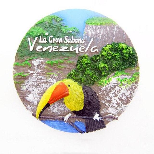 1 Pc יפה באיכות גבוהה 3D מקרר שרף מגנט יפה ציפור ב La Gran Sabana ונצואלה מזכרת בית מתנה