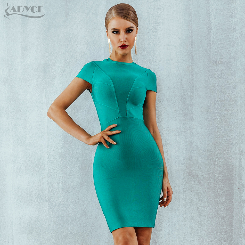 Adyce 2019 New Summer Bandage Dress Women Clothing Sexy Short Sleeve Bodycon Club Dress Nightclub Celebrity