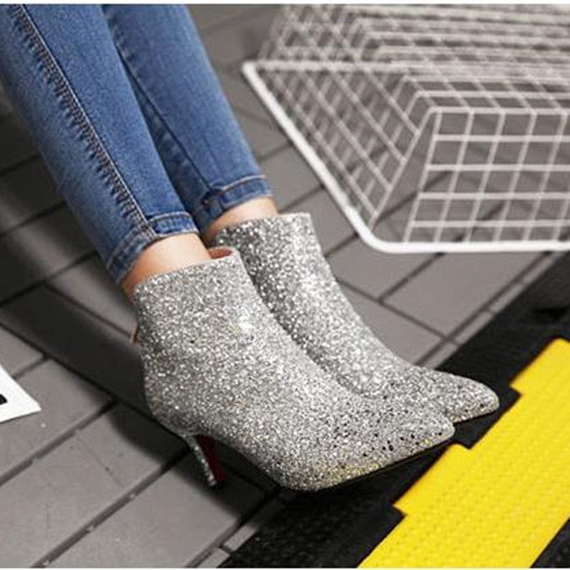 COSMAGIC 2018 New Women Bling Glitter Fashion Ankle Boots High Heel Zip  Solid Silver Wedding Short Botas Mujer Plus Size-in Ankle Boots from Shoes  on ... ed3ad96c4131