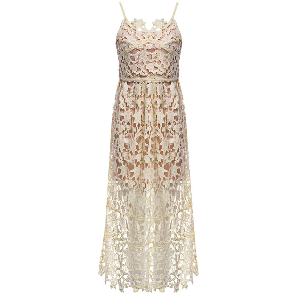 VESTLINDA Spaghetti Strap Backless Hollow Out Crochet Lace Dress Women Vestidos Mujer Robe Femme 2017 Summer Sexy Maxi Dress 20