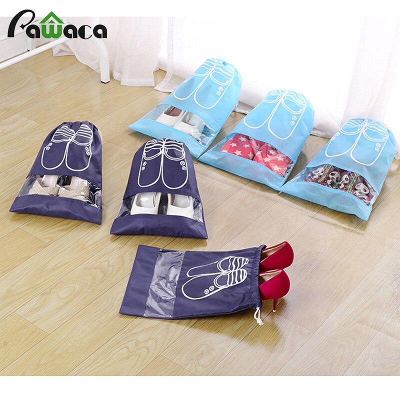 5 Pcs Shoe Bags Waterproof Dust-proof Drawstring Bag Portable Travel Shoe Storage Bags Pouch Organizer With Transparent Window
