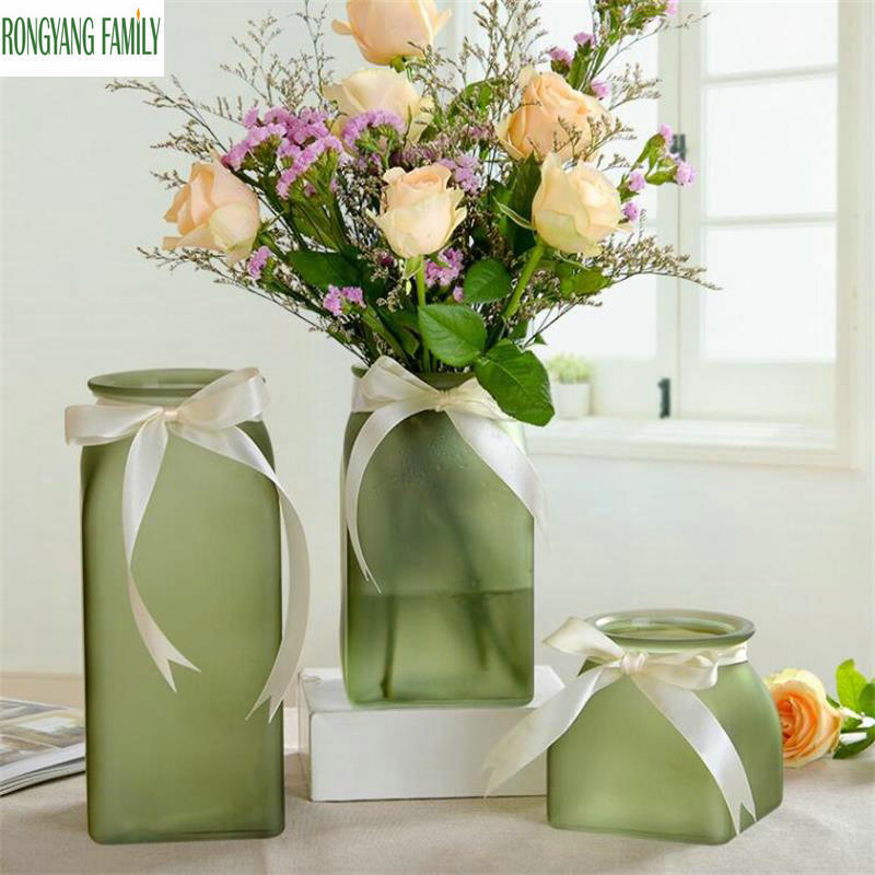 Us 13 95 36 Off Chinese Frosted Glass Vase Wedding Decorative Vase Modern Tabletop Flower Vase Home Decor Living Room Vases Handmade Handicrafts In