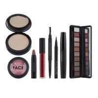 FOCALLURE Makeup Tool Kit 8PCS Cosmetic Set Essential Brow Pens Eyeshadow Podwer Lip Eyeliner Mascara Blush