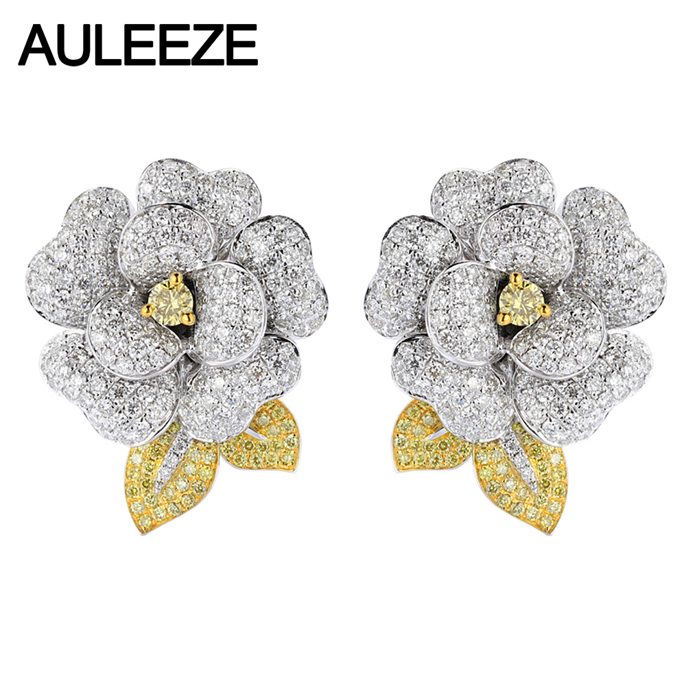 AULEEZE 14K White Gold Natural Yellow Sapphire Clip Earrings Elegant Camellia Moissanite Diamond Earrings Wedding Party