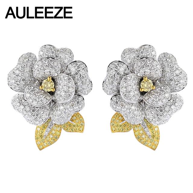 AULEEZE 14K White Gold Natural Yellow Sapphire Clip Earrings Elegant Camellia Moissanite Diamond Earrings Wedding Party Earrings