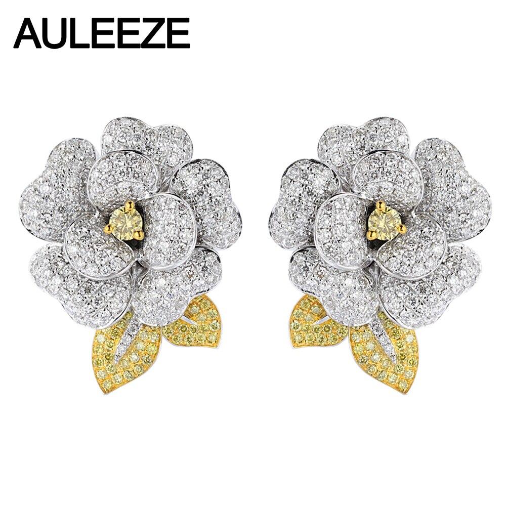Auleèze 14K or blanc naturel jaune saphir pince boucles d'oreilles élégant camélia Moissanite diamant boucles d'oreilles de fête de mariage