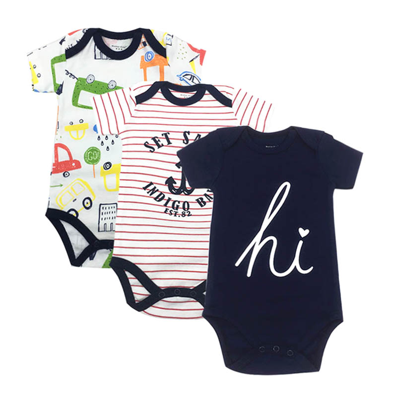 3 pcs/lot Baby Bodysuits Cotton Baby Boy Girl Clothes Infant Short Sleeve Jumpsuit Body for Babies Newborns Baby Clothing