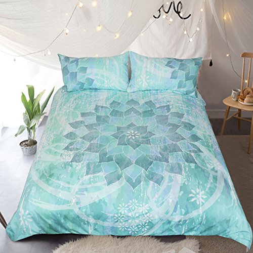 WARM TOUR Glowing Lotus Turquoise Mandala Bedding Blue Green Flowers Duvet Cover 4 Piece Vintage Bed Set
